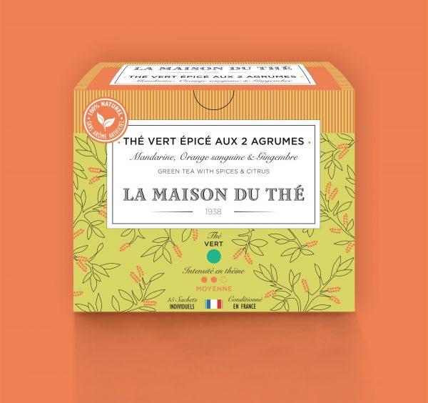 Thé vert épicé aux 2 agrumes Mandarine, Orange Sanguine et Gingembre