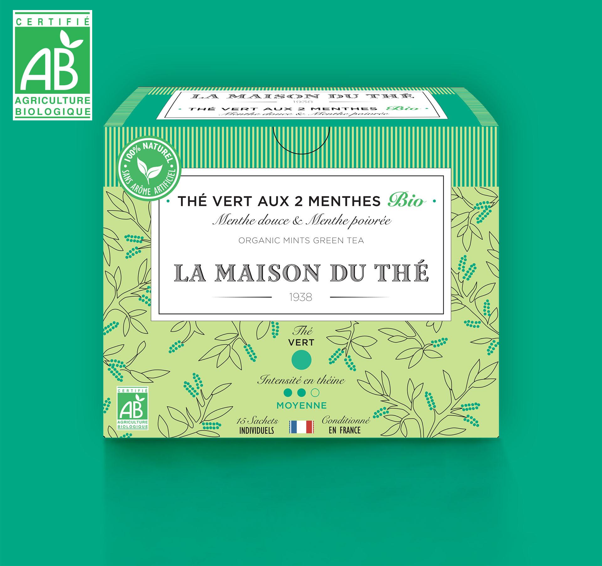 Thé vert aux 2 menthes Bio Menthe douce et Menthe poivrée